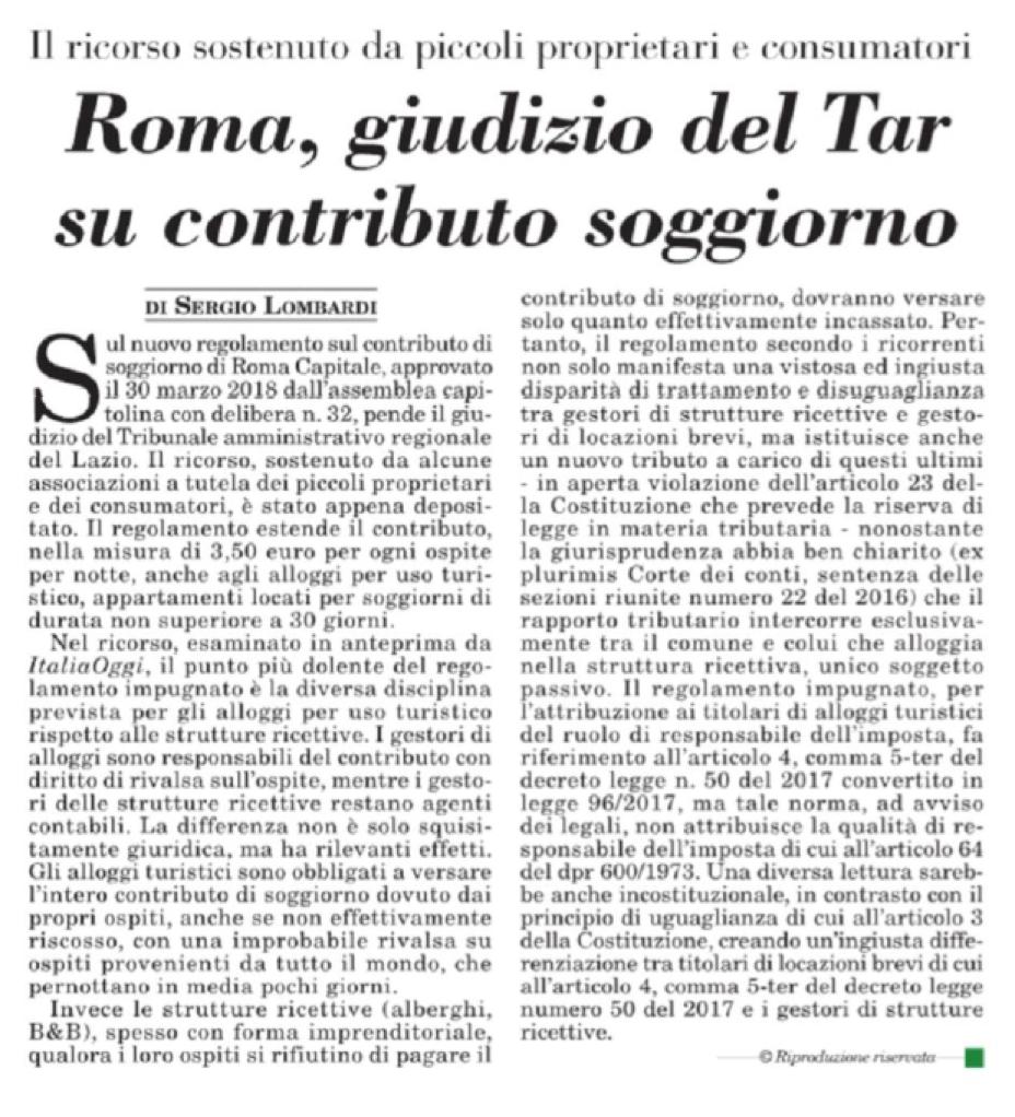 Giudizio del Tar su contributo soggiorno - ASPPI | Sede ...